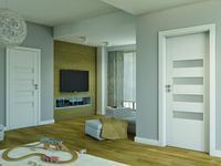 Mieszkanie w stylu skandynawskim. Drzwi wewnętrzne w jasnym pokoju