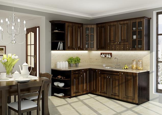 Zobacz galerię zdjęć Klasyczne meble kuchenne w aranżacji kuchni Brązowa kuc   -> Kuchnie Nowoczesne Jasne Kolory